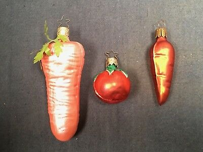 Vintage Hand Blown Glass Christmas Ornament Garden Vegetables Carrots Tomato 4""