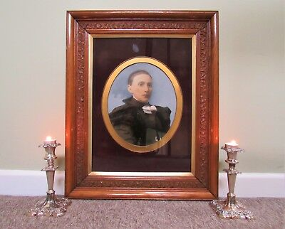 #2 OF A PAIR OF MAGNIFICENT 19thc CARVED OAK FRAMED OIL PORTRAIT PAINTINGS