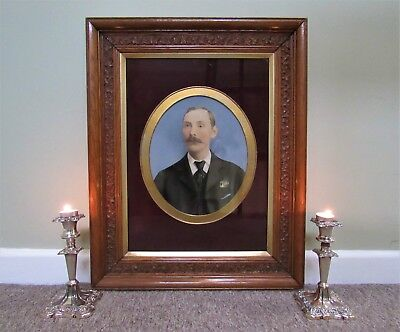 #1 OF A PAIR OF MAGNIFICENT 19thc CARVED OAK FRAMED OIL PORTRAIT PAINTINGS