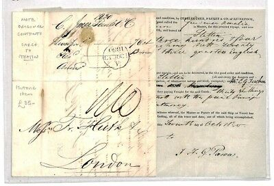 CR106 POLAND *Stettin* Cover 1830 MARITIME LETTER Original Content Cargo London