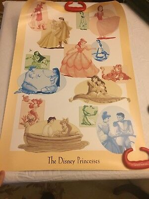 Walt Disney Theme Park Poster THE DISNEY PRINCESSES Rare W/Original Tube