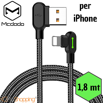 Mcdodo® Cavo Dati Usb Lightning Per Apple Iphone 90 Gradi Ricarica Veloce 1.8M