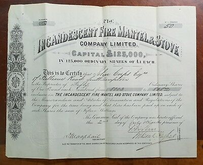1896 The Incandescent Fire Mantel & Stove Company Share Certificate