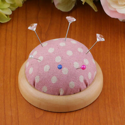 Half Round Needle Holder Pin Cushions, Cotton Fabric with a Wooden Base 70mm