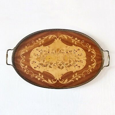 Vintage large wooden serving tray Inlaid Marquetry With Handles Oval Wood Tray