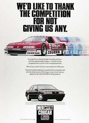 1990 MERCURY COUGAR Genuine Vintage Advertisement ~ ROUSH RACING
