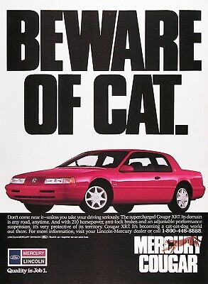 1990 MERCURY COUGAR XR7 Genuine Vintage Advertisement ~ Beware of CAT