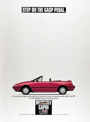 1990 MERCURY XR2 CONVERTIBLE Genuine Advertisement ~ Step on the gasp pedal