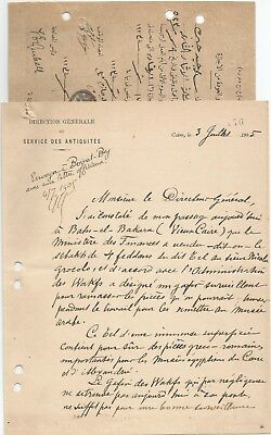 EGYPT 1905-23 2 LETTERS SIGNED BY UK ENGLISH Egyptologist James Quibell
