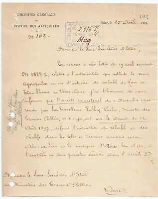 Egypt Ägypten 1904 Rare Letter Signed By France Gaston Maspero Lot 1
