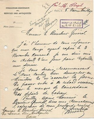 Egypt Ägypten 1907 Rare Letter Signed By France Gaston Maspero Lot 5