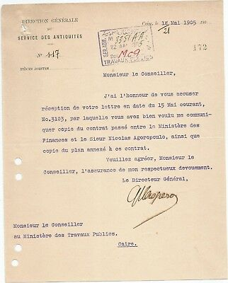 Egypt Ägypten 1905 Rare Letter Signed By France Gaston Maspero Lot 12
