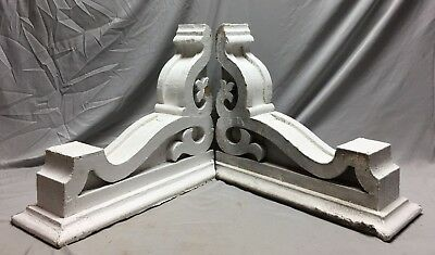 Pair Large Antique White Roof bracket Corbels Shabby Vintage Chic Old 20-19M
