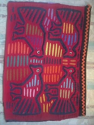 Vintage Mola Kuna Indian San Blas Islands  Single Panel 4 Birds Hand-Stitched.