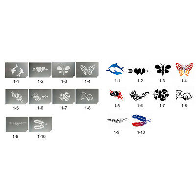 10x Reusable Body Face Painting Stencil Animal Flower Tattoo Makeup Template