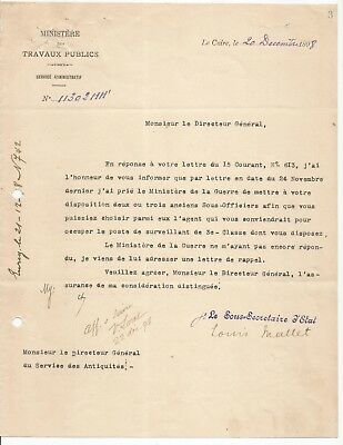 EGYPT ÄGYPTEN 1898 LETTER SIGNED BY FRANCE Egyptologist VECTOR LORET lot 1