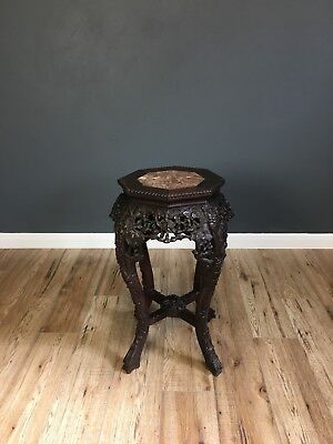 Antique Marble Top Carved Hardwood Chinese Stand