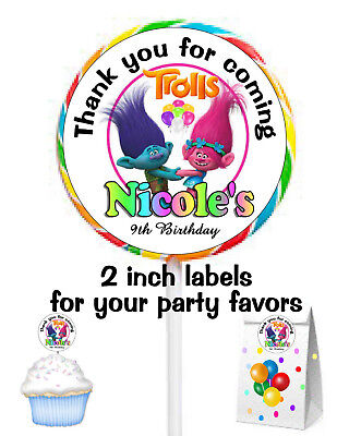 20 Trolls Birthday Party Favors Labels 4 Your Favors Lollipops Goody Bags Seals