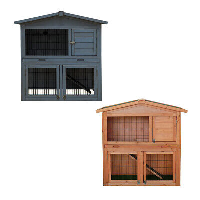 Charles Bentley Two Storey Rabbit Hutch With Play Area Grey & White/Light Brown
