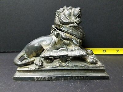 Antique Vintage Cast Metal Figural Roaring LION Ink Well and Pen Rest - France