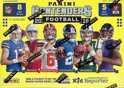 2018 Panini CONTENDERS Football NFL Trading Cards New 40ct. Retail Blaster Box