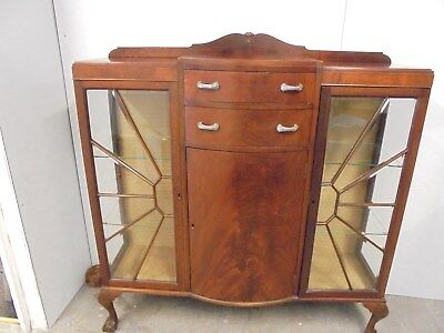 Art Deco Display Cabinet Bow Front- Glass Shelves -Claw Feet- Mahogany