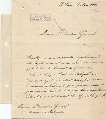 EGYPT ÄGYPTEN 1908 LETTER SIGNED by France Georges Émile Daressy LOT 5