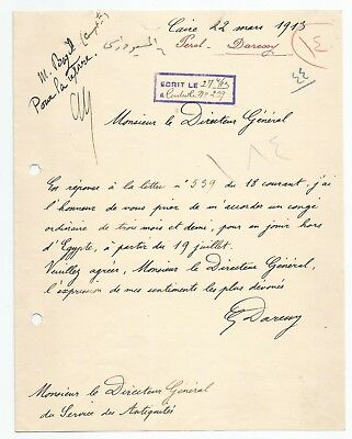 EGYPT ÄGYPTEN 1913 LETTER SIGNED by France Georges Émile Daressy LOT 10