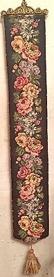 "Vintage Tapestry Bell Pull Bellpull Flowers Floral Lined Brass Ends 38"" x 6"""