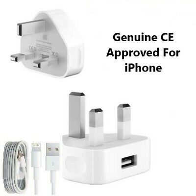 Genuine CE Charger Adapter Plug & USB Data Cable iPhone XS X 8Plus 7 6 5 SE iPad