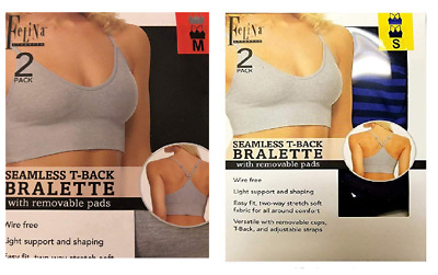 9351aee101046 Felina Ladies  Seamless T-Back Wire Bralette with Removable Pads 2-Pack-