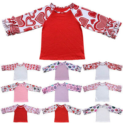 41a9b38cd Valentine's Day Kid Baby Girl Ruffle Tops Easter Egg Long Sleeve Raglan  T-shirt