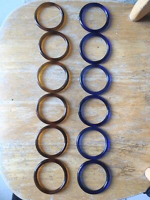 """Canton Glass Rings 2 1/8-2 1/4"""" Inside Diameter Amber And Blue 6 Of Each Color"""