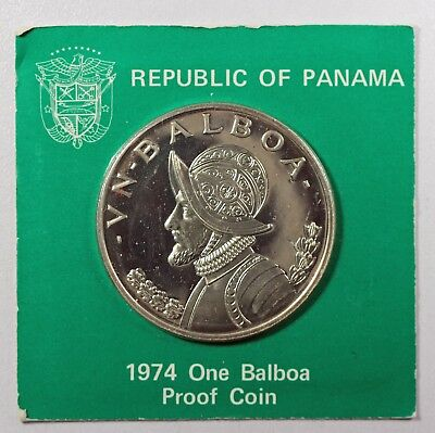 (Vl559) 1974 1 One Proof Balboa Silver Coin From Panama In Original Mint Package