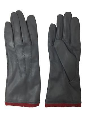 Womens Gray & Red Leather Gloves Acrylic Lined