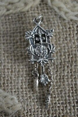 VINTAGE silver Swiss cuckoo clock charm moving parts