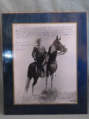 Vintage,Autographed Photograph Of LEW Western Movie/TV Cowboy On Horse With Gun