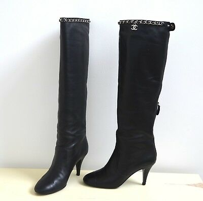 d6892440dd00 CHRISTIAN LOUBOUTIN CATE Chain -Trim Red Sole Knee Boot Size 6 1 2 ...