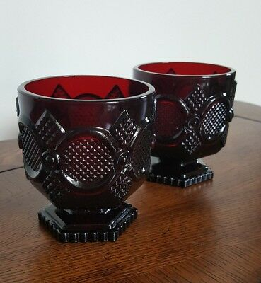 Pair of Avon Cape Cod Ruby Red Glass Short Water Glasses Goblets