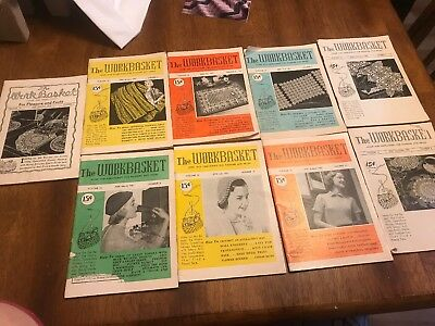 Vintage Lot of 9 THE WORKBASKET Magazine 1951 with Recipes~Needlecraft and More