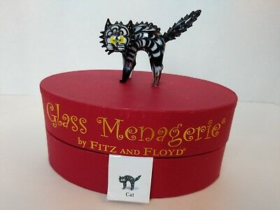 2005 Retired Fitz and Floyd Glass Menagerie Cat With Box 43/153 LIMITED EDITION