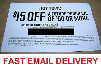 Hot Topic HotTopic.com coupon for $15 off $50, online use only, expires 08/31/19