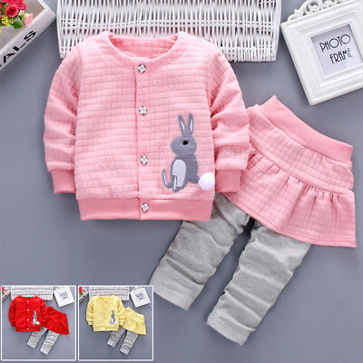 Winter Coat Pants Outwear Holiday Clothes 2pcs Cotton Toddler Kids Baby Girl