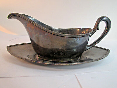 Vintage Sheffield Silver Plate Gravy Boat with Tray