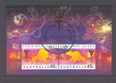 Christmas Island  1997  Mini sheet, Year of the Ox, cancelled on first day.