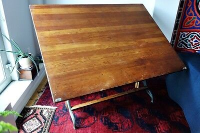 Antique Drafting Table Drawing Cast iron Eugene Dietzgen Made in USA Chicago vtg