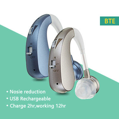 New Rechargeable Digital Hearing Aid Severe Loss BTE Ear Aids HIGH-POWER New