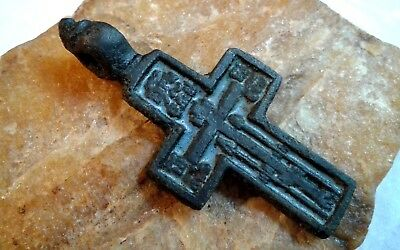 "ANTIQUE 18-19th CENTURY LARGE ""OLD BELIEVERS"" ORTHODOX CROSS PSALM 68 w/ ENAMEL"