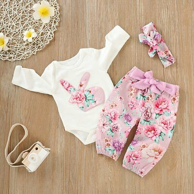 3PCS Infant Kids Baby Girl Romper Tops+Floral Pants+Headband Outfit Clothes Set