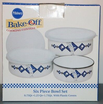 New Pillsbury Doughboy Chef Storage Container Bowl Set of 3 with Covers 2000